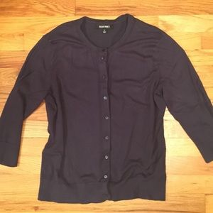 Ellen Tracy Navy 3/4 Sleeve Cardigan Sweater